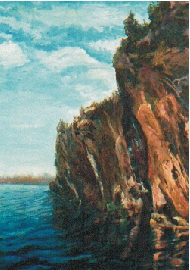 painting of Bon Echo Rock