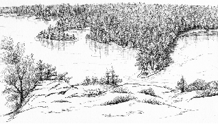 pen & ink drawing of Bon Echo from the cliff