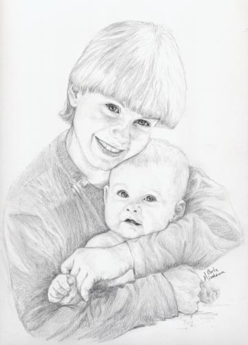portrait of 2 children
