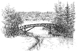 pen & ink drawing of bridge over Bon Echo Creek