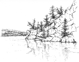 pen & ink drawing of Bon Echo Rock South