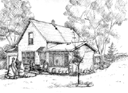 pen & ink of Home